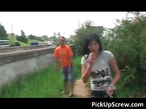 Sexy brunette hoe gets picked up on the street for outdoor cock sucking and cunt banging