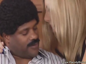 Hot Blondy rides so Wild into Black Guy Big Cock