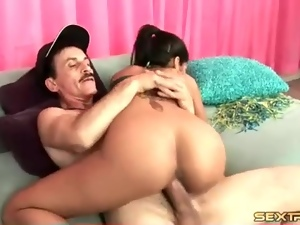 Young Latin girl fucked by big old man cock