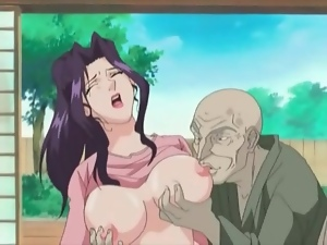 Old man wants his dick sucked by busty hentai chick
