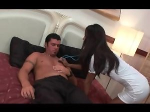 Asian nurse in short white dress sucks cock