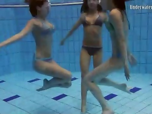 Go swimming with three girls in bikinis