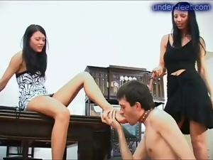 He gets trampled by two ladies in heels