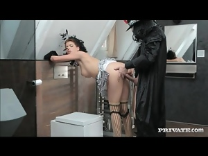 Anal sex for glam couple in costumes