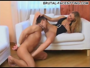 Glamorous blonde mistress loves pussy licking