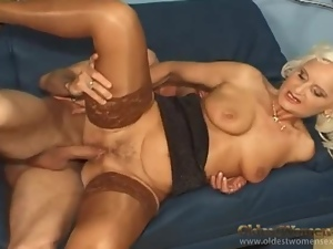 This horny grandma is crazy for big cock