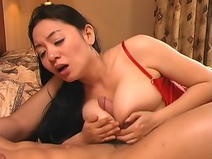 buxom chinese girlie in red stockings is mediocre fuck