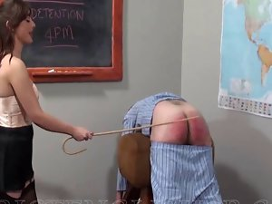 A volunteer for a caning