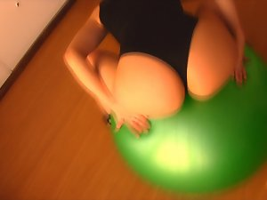 Epic Naughty ass Buxom Blondie Teen! Working Out With FitBall! OMG!