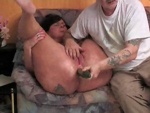 German buxom experienced with cucumber in her bum