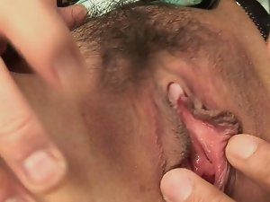 Sensual dark haired slutty girl gets two shafts in her mouth and vagina