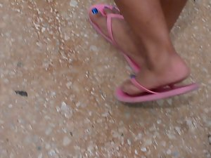 Following Mexican Feet in Flip Flops Makes My Prick Stiff