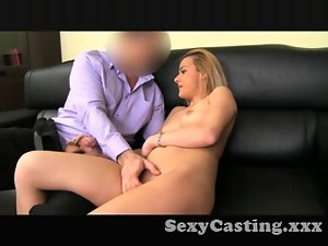 Casting Shy tempting blonde receives extremely huge shaft in interview