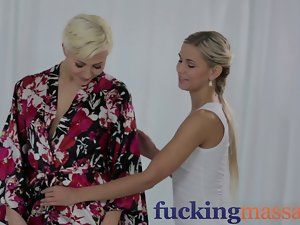 Massage Rooms Alluring 19 years old lezzies love oily finger shagging
