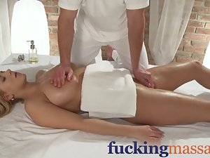 Massage Rooms 18 years old chesty young woman has large melons oiled