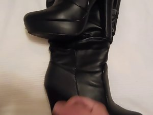 Cum on black boots