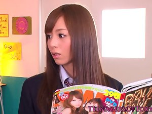 Seductive japanese schoolgirl facialized in classroom