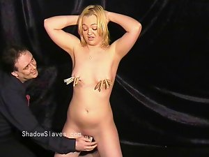 Blondie fetish slave Donna Dennieres whipping and tit torture