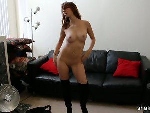 Short jean skirt lass stripping nude and dancing