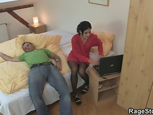 Brutal dick sucking and wild sex for cheating nympho