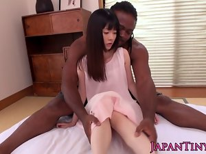 Weeny seductive japanese girlie banged by huge ebony fellow after getting or