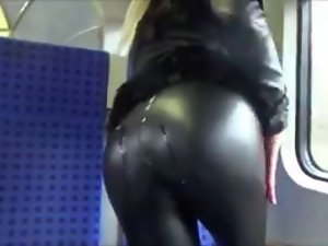 Cum on Sensual Naughty ass in Leather (In Public!)