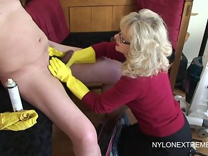 Rubber Gloves Handjob