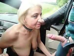 Submissive nympho granny used by stranger in highway car park