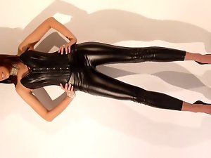 sexual stiff shiny outfit with heels