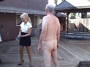 Caning senior citizen