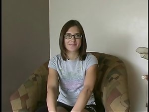 J15 19 years old amateur with glasses masturbates
