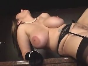 Chesty aged in stockings screwed