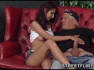Dark haired girlie smoking a cigarette during SteetFlirts casting