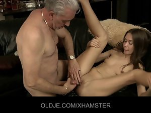 Aged pecker experiences 19 years old stunning anal