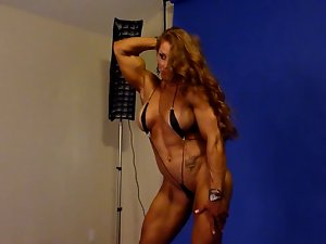 Sensual Muscle Goddess in Studio