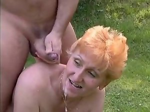 Tall Redhead German Experienced banged in the grass