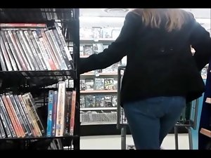 Candid - Wench with Big Butt in Stiff Jeans DVD Shopping