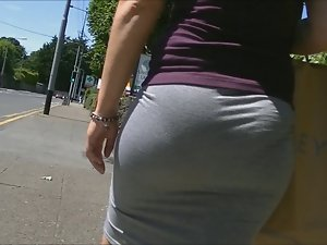 Bubble ass in tense skirt (edited).