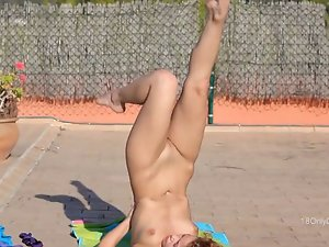 19 years old girlie meditates nude and does acrobatic exercises