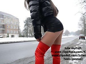 Prostitute in red overknee boots & moncler downjacket