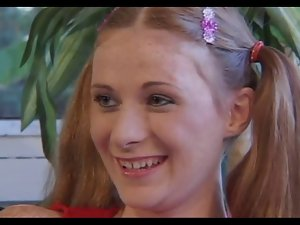 Freckles Redhead Ponytail Raunchy teen Alison Banged