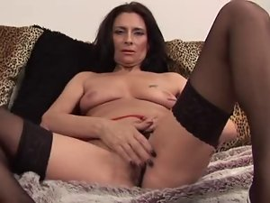 Experienced Tracey spreads in black stockings