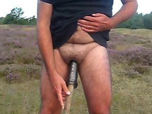 Eunuch jerks his limply micro penis in public until it cums
