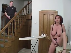 Redhead Granny-Beauty Butthole On Stairs