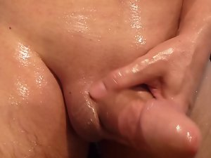 Cumshot of my oiled and shaven prick
