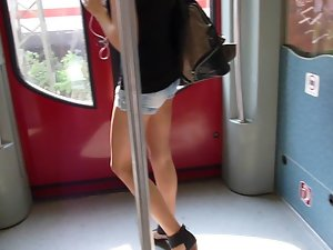 Blond Wearing Narrow Sexual Shorts 1 - Walk On Train