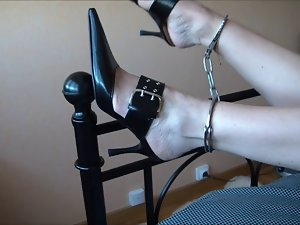 Attractive mom chained