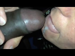 Attractive Momma Opens Mouth to Taste and Swallow Black Sperm