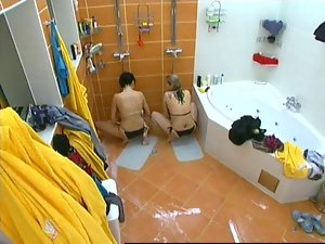 Two Randy chicks masturbating in Czech Big Brother under Shower