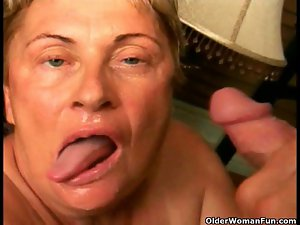 Grandma caresses a extremely big cock